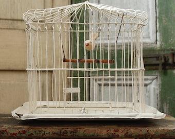 Antique Chippy White Wire Bird Cage, Vintage Doomed Cage with , Collectible Bird Cage, Vintage Metal Cage with White Folk Art Bird