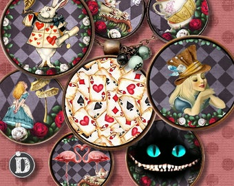 NEW ALICE WONDERLAND **  Digital Collage Sheet Printable Instant Download for art jewelry scrapbooking bottle caps magnets pins