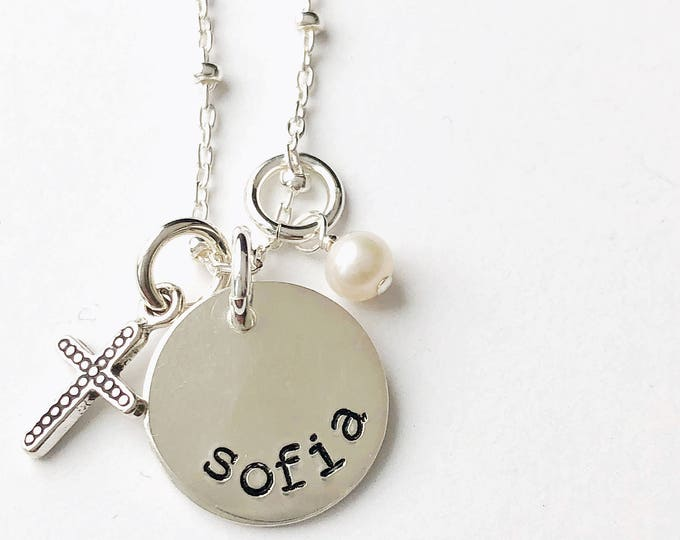 """Featured listing image: Silver """"Sandy"""" Cross & White Pearl"""