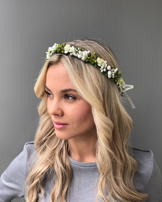 Wedding White Flower Crown: White Green Flower Crown Wedding Headband Bridal Flower Crown