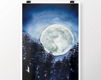 Moon Watercolor Digital Art Print