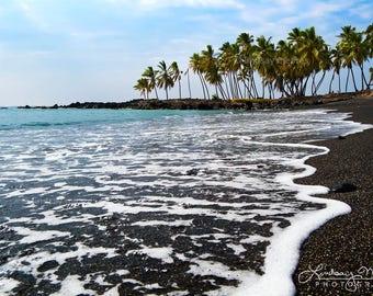 "Hawaii Beach Photo | ""Honomalino Bay"" | Black Sand Beach Photo - Hawaii Beach Print - Big Island Hawaii Art - Black Sand Beach Print Art"