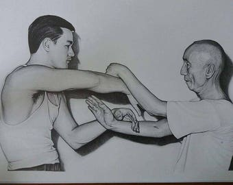Bruce Lee and IP Man A3 size Hand Signed Limited print