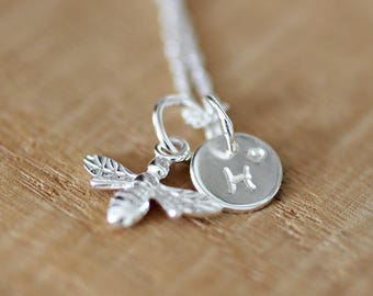 Sterling Silver Personalised Bee Necklace