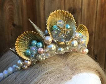Delicate little golden mermaid tiara for children or adults