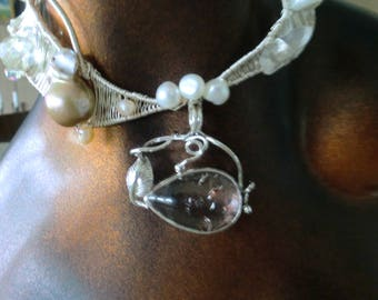 wire wrapping pendant necklace one of a kind pearls vintage cabochon
