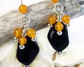Halloween Cluster Earrings, Black Orange Earrings, Orange Cluster Black Dangles, Samhain Jewelry, Halloween Jewelry, Boho Earrings Handmade