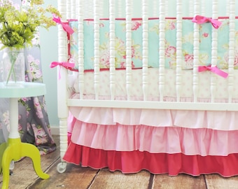 Boutique Crib Bedding in Aqua and Pink with a Pink Gradiant Crib Skirt