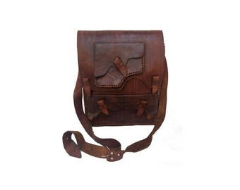 1960s natural tan leather X Large Messenger BAG // Steampunk large Leather Messenger BAG // Crossbody// laptop recycled