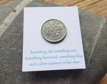 Brides Gift Lucky Sixpence, Silver Sixpence, Something Old, Brides Gift, Wedding Gift