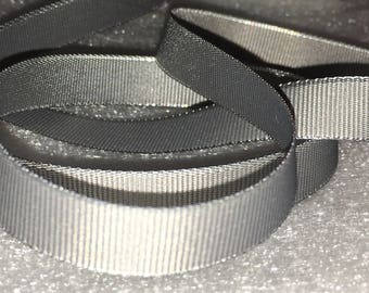 3 Yards Grey Grosgrain Ribbon with Silver Edge