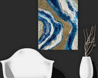 """Textured Fluid poured Original Abstract Painting """"Lapis Geode"""" contemporary wall art 24x30 by Holly Anderson Ships Free within the USA"""