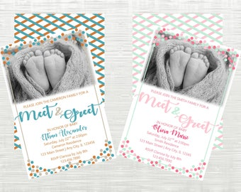 Sip and See Invitation, Meet and Greet Invitation, Baby Boy Birth Announcement, Baby Girl Birth Announcement, Confetti Themed Invitation
