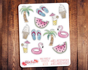 Summer Hand Painted Watercolor Planner Stickers, Planner Stickers, for use in Erin Condren Planners, Happy Planner Sticker W008