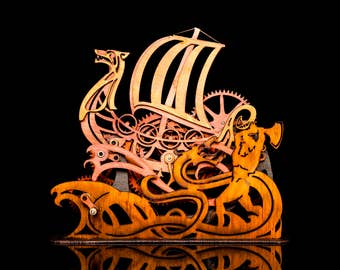 Mechanical Wind Up Viking Ship Kinetic Sculpture Toy Hand Crank Automata Gift Idea Norse Longboat Laser Cut Wood Clock Gear Cogs art Nouveau
