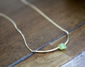 Peridot Curved Bar Necklace in Gold or Rose Gold , Modern August Birthstone Gemstone Jewelry , Handmade Gifts - Valkyrie