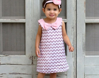 Grey Chevron Retro A-line Dress Light Pink Collar Shoes Set Infant Outfit Baby Shoes