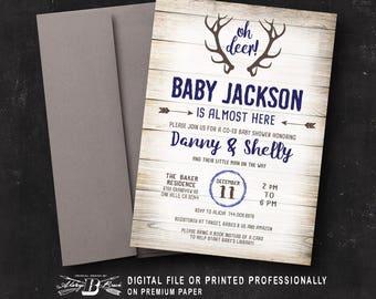 Rustic Baby Shower Invitation | Printed Invitation or Printable Digital File | Woodland Co-Ed Modern Deer Couple's Shower Woodsy Navy Blue