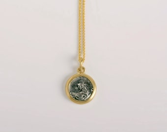 Lion head Greek Coin Pendant Necklace | Chersonesos Ancient silver coin Pendant 18k gold, Dainty antique pendant, authentic coin