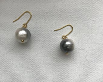 Large cotton pearl 12mm gray/white gradation color simple chic drop earrings, 14K goldfilled ear wires