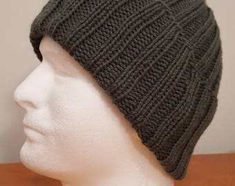Men's Moss Green Knit Winter Hat