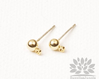 E349-G// Gold Plated Simple 4mm Solid Ball Earring Post, 4pcs