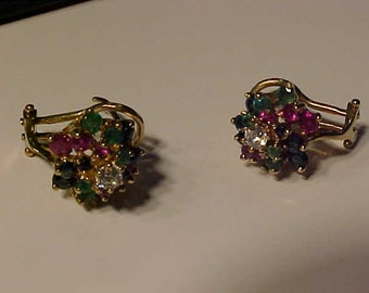 Vintage 14k hallmarked Omega/stud colourful earrings-Weight-5.70 Gms-Emerald-Ruby-Sapphire-Cz-Ship to USA or Canada-