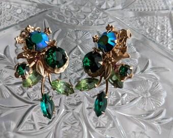 Green Floral Rhinestone Earrings Clip Ons