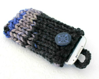 Gray Blue Knit Phone Sleeve, Knit Phone Case, Gray Knit Phone Sock, Chunky Knit Phone Case, Striped Phone Sleeve