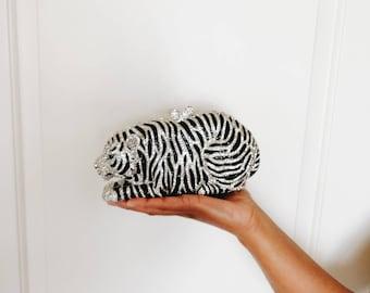 Heavy Embellished Crystal Tiger Clutch