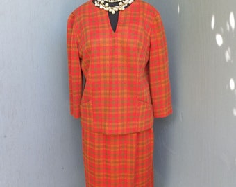 Vintage 50s Suit, Carol Craig, Two Pc Wool Suit, Orange Plaid Suit, Skirt and Top,  Fall and Winter Fashion, size 14