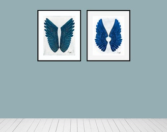 Angel Wing Diptych 12 Photo Set, Fine Art Photography, Wall Art, Set of Two, Angel Wings, Guardian Angel Wings Print, Angel Therapy Images