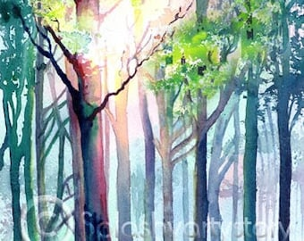 WOODLAND LIGHT art print of original watercolour painting trees forest nature sunlight watercolor
