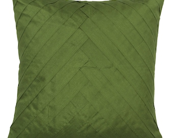 Solid Moss Green Pillow Cover Pleated Accent Pillow Solid Moss Green Euro Sham 14x14 16x16 18x18 20x20 22x22 24x24 26x26
