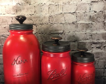 Rustic Farmhouse Mason Jar Kitchen Canister Storage Set- 3 piece Red and Charcoal