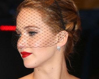 Black fascinator veil headband Jennifer Lawrence black birdcage veil funeral veil voilette gothic bride masquerade ball bachelorette veil