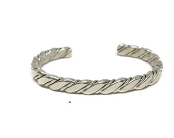 Sterling Silver Twisted Rope / Spiral Cable Cuff Bracelet
