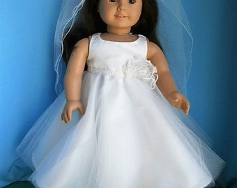 First Communion Ensemble for American Girl Size Dolls - Dress with Veil  Shoes for 18 inch dolls