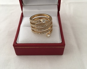 Michael Kors Park Avenue Coil Spiral Paved Crystal Glitz Gold Tone Ring