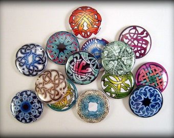 Multicolor Celtic Flatback Buttons, Pins, Magnets 12 Ct.