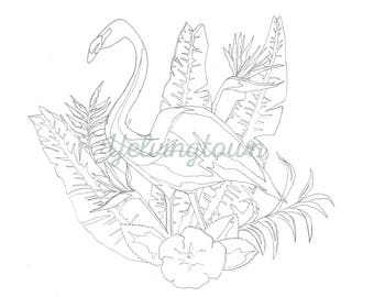 Flamingo and Tropical Flowers coloring book page; adult coloring book; instant digital download