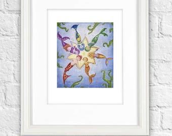 Mermaid Print, Mermaid Art Print, Merfolk, Mermaids, Rainbow Mermaid, Little Mermaid, Mermaid Gifts, Kids Prints, Kids Wall Art, 8 x 10