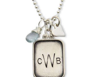 Mothers Necklace- custom sterling silver monogram charm necklace. Personalized Gift. Custom Necklace. Monogram Charm. jpstyle jewelry