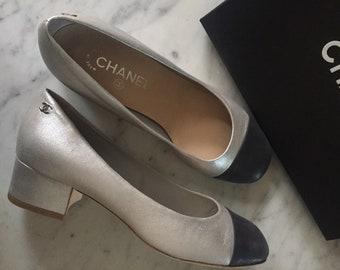 Silver and navy Chanel block heel pumps 39.5 C EU