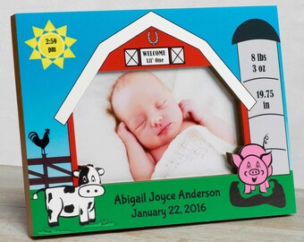 Personalized Baby Picture Frame, Baby Girl Picture Frame, New Baby Girl Frame, Baby Girl Frame, Baby Girl Birth Frame, Baby Barn Animals