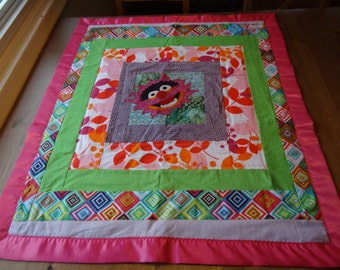 Animal Muppet Quilted Blanket with Bright Happy Colors and Appliqued Awesomeness