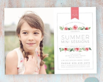 ON SALE Marketing Board Summer Mini Sessions - Photoshop Newsletter template - IH016 - Instant Download