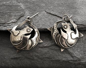 Vintage Abstract Modernist Sterling Silver Earrings with Full Hallmarks for London 1986