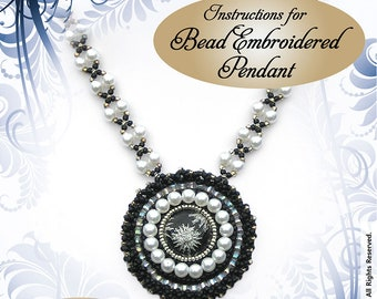 Bead Embroidered Pendant INSTRUCTIONS - Suitable for complete beginners!