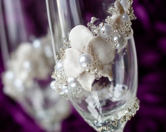 Personalized Wedding Glasses, Champagne Toasting Flutes for Bride and Groom, Orchid Wedding Flutes Pearls Glasses, 2 psc /G2/4/12/16-0001
